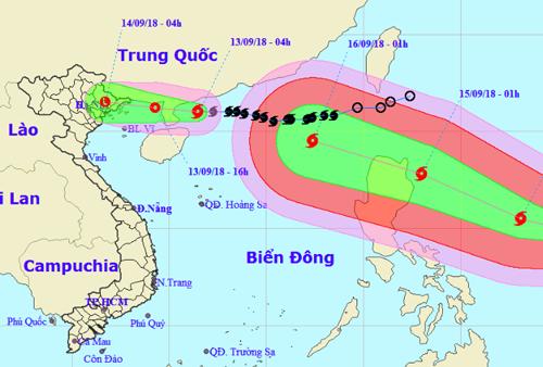 Ảnh vị trí và dự báo đường đi của bão số  Barijat (hình nhỏ) và siêu bão Mangkhut (hình lớn). Nguồn: NCHMF.