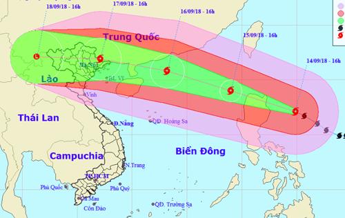 Dự báo đường đi của siêu bão Mangkhut. Nguồn: NCHMF.