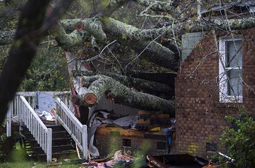 Ngôi nhà bị cây lớn đổ xuống khiến hai mẹ con tử vong ở thành phố Wilmington, bang North Carolina hôm 14/9. Ảnh: AFP