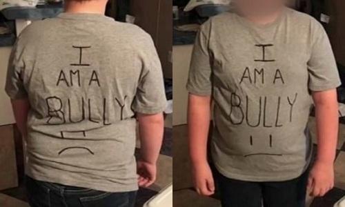 Con trai Star mặc áo in dòng chữ tôi là kẻ bắt nạt đến trường. Ảnh: ABC