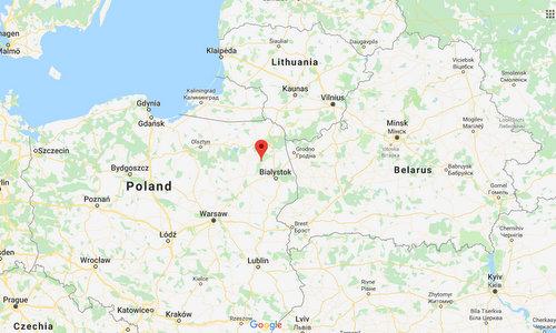 Địa điểm đặt pháo đài Osowiec nằm ở đông bắc Ba Lan. Đồ họa: Google Earth.