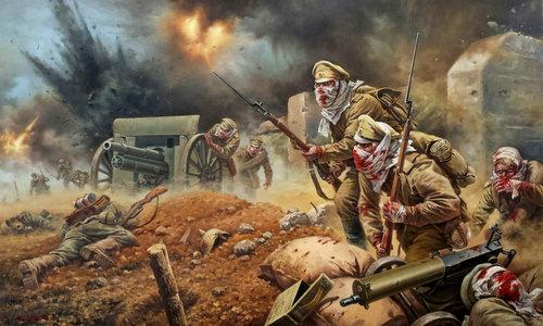 Tranh mô tả lính Nga chống trả cuộc tấn công của Đức. Ảnh: RBTH.
