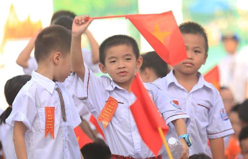 Học sinh trường Tiểu học Chu Văn An (quận Hoàng Mai) trong lễ khai giảng ngày 5/9.Ảnh: Gia Chính.