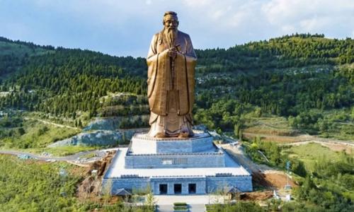Tượng Khổng Tử sắp khánh thành ngày Trung thu (24/9)ở Sơn Đông. Ảnh: Xinhua.