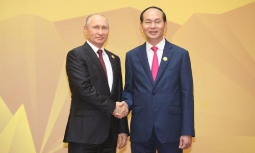 Chủ tịch nước Trần Đại Quang đón Tổng thống Nga Putin dự Hội nghị APEC 2017 tại Đà Nẵng. Ảnh: TTXVN.