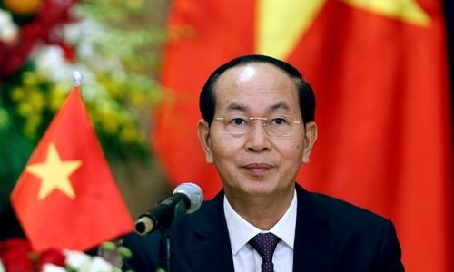 Chủ tịch nước Trần Đại Quang trong cuộc họp báo ở Hà Nội ngày 6/9/2017. Ảnh: Reuters.