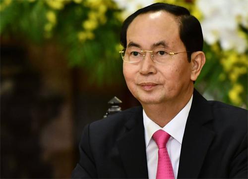 Chủ tịch nước Trần Đại Quang tại lễ đón Tổng thống Hàn Quốc tại Hà Nội tháng 3/2018. Ảnh:Giang Huy.