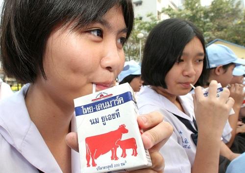 Chương trình sữa học đường ở Thái Lan góp phầngiúp tiêu thụ sản phẩm sữa địa phương. Ảnh: Bangkok Post