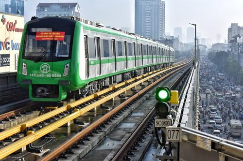 Tàu điện Cát Linh - Hà Đôngvận hành thử toàn tuyến hôm 22/9. Ảnh: Giang Huy