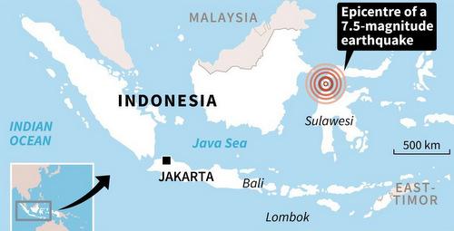 Tâm chấn của trận động đất mạnh 7,5 độ chiều 28/9. Đồ họa: AFP.