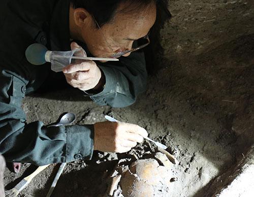 Sọ người tiền sử được phát hiện tại hang động núi lửa Krông Nô. Ảnh: LP.