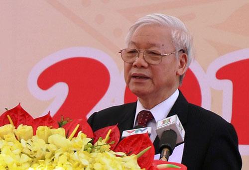 Tổng bí thư phát biểu tại lễ khai giảng ngày 30/9 tại Học viện Nông nghiệp Việt Nam. Ảnh: VGP