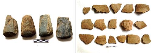 Công cụ đá và các mảnh gốm tìm thấy ở hang Pù Chùa.