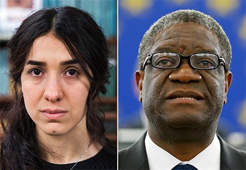 Nadia Murad (trái) và Denis Mukwege,hai chủ nhân của Nobel Hòa bình 2018. Ảnh: Reuters