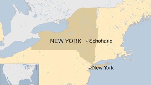 Tai nạn xảy ra ở hạt Schoharie, cách New York khoảng ba giờ lái xe. Đồ họa: BBC.