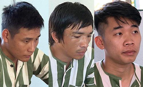 Lâm, Tuấn và Sang tại cơ quan công an. Ảnh: Quang Bình