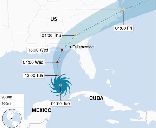 Đường đi dự kiến của bão Michael. Đồ họa: BBC.