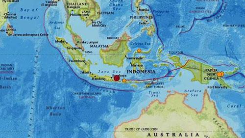 Động đất xảy ra ngoài khơi đảo Java và Bali của Indonesia sáng 11/10. Ảnh: USGS.