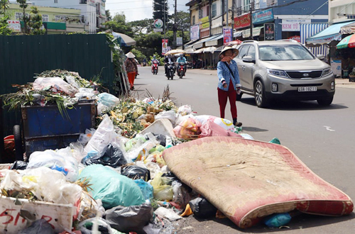 Bãi rác trên đường Nguyễn Công Trứ. Ảnh:Hoài Thanh.