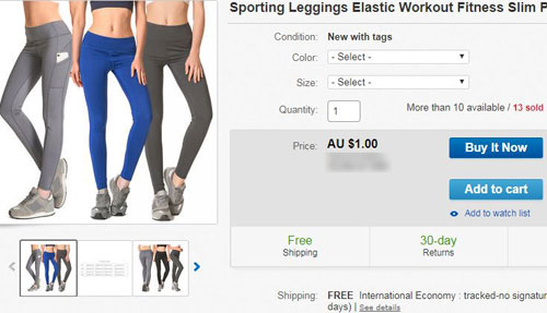 Những chiếc quần tập yoga được bán trên eBay với giá chưa tới 1 USD, miễn phí vận chuyển. Ảnh chụp màn hình.