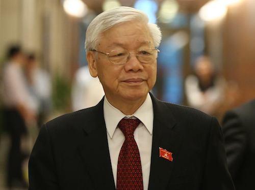 Tổng bí thư,Chủ tịch nước Nguyễn Phú Trọng bên hành lang Quốc hội ngày 23/10. Ảnh: Hoàng Phong