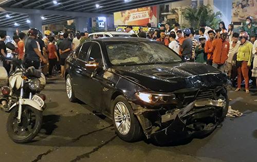 Chiếc xe BMW gây tai nạn. Ảnh: Sơn Hoà.