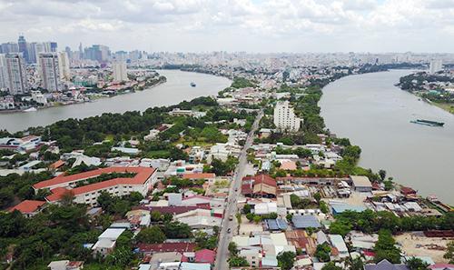 Khu đô thị sinh thái Thanh Đa rộng 426 ha, chỉ cách trung tâm thành phố một dòng sông. Ảnh: Quỳnh Trần.