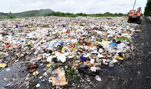 Rác bốc mùi hôi thối ở bãi rác tạm của TP Cà Mau. Ảnh: Hoàng Hạnh.