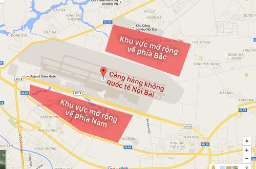 Hai khu vực được nghiên cứu mở rộng sân bay Nội Bài.