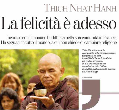 Bài viết về thiền sư Thích Nhất Hạnh trên tờ La Stampa của Italy. Ảnh: Plumvillage.org.