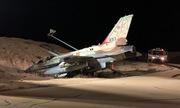 Tiêm kích F-16I Israel mất phanh, lao xuống hào