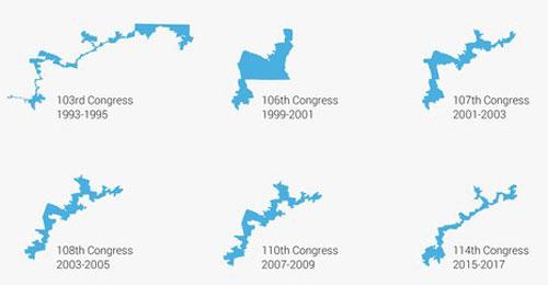 Sự thay đổi của Khu vực Bầu cử Quốc hội số 12 bang Bắc Carolina qua các thời kỳ. Đồ họa: Wired.