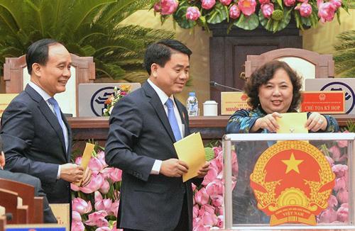 Các lãnh đạo chủ chốt của TP Hà Nội sẽ được lấy phiếu tín nhiệm tại kỳ họp HĐND cuối năm. Ảnh: HĐND.
