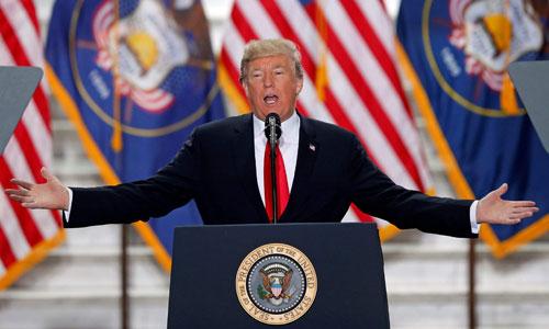 Tổng thống Trump trong một cuộc diễn thuyết ở bang Utah. Ảnh: AFP.