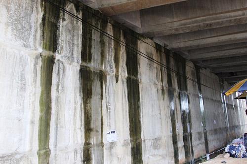 Mố cầu OP10 ở Km41+235 nước mưa chảy xuống nhiều chỗ. Ảnh:Sơn Thủy.