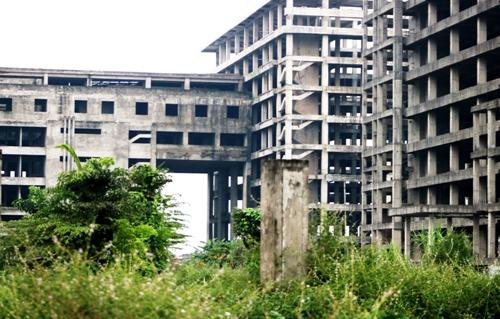 Sau 5 nămđể hoang phí, nhiều hạng mục xây dựng dở dang xuống cấp, cỏ dại mọc cao lụt đầu người. Ảnh: Giang Chinh