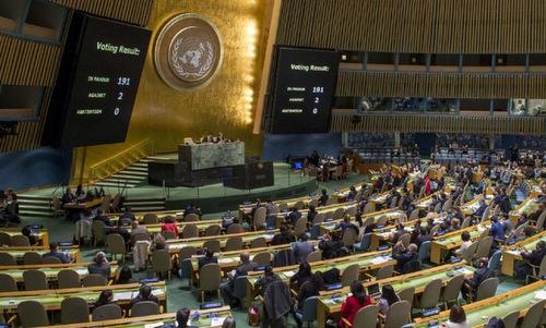 Đại hội đồng Liên Hợp Quốc thông qua nghị quyết hôm 1/11. Ảnh: UN.
