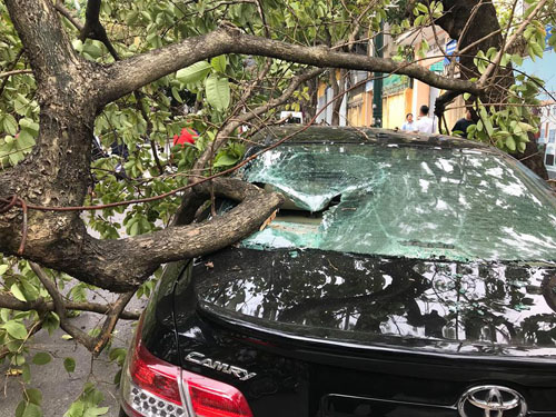 Camry broke the rear window, the car. Photo: Huu Quang.