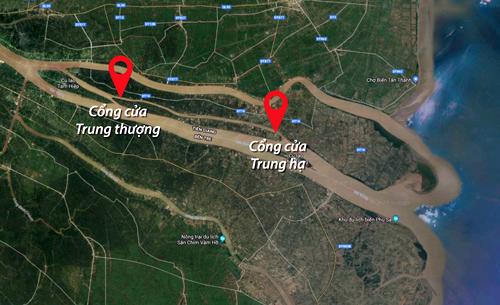 Vị trí sông Cửa Trung được tỉnh Tiền Giang đề xuất chặn làm hồ trữ nước ngọt.