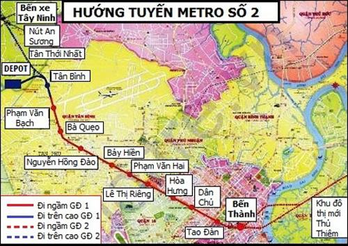 Sơ đồ đường đi của tuyến metro số 2. Ảnh: BQL Đường sắt đô thị TP HCM