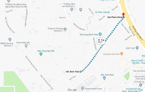 Bản đồ phố kiểu mẫu Đình Thôn.