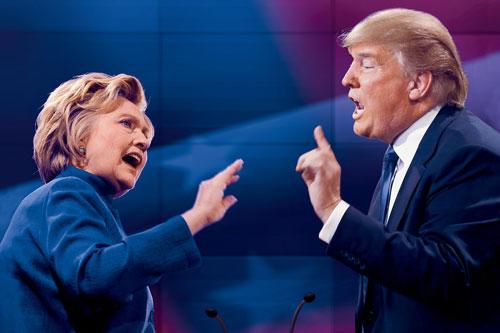 Hillary Clinton (trái) và Trump trong một cuộc tranh luận trực tiếp trên truyền hình năm 2016. Ảnh: AP.