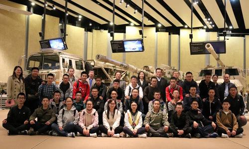 Các sinh viên được BIT tuyển chọn tại trụ sở tập đoàn Norinco. Ảnh: SCMP.