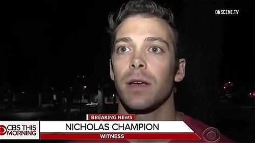 Nick Champion trả lời phỏng vấnsau vụ xả súngđêm 7/11. Ảnh: OnSceneTV.