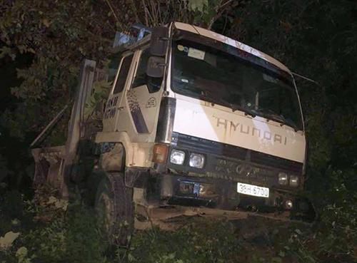 Ôtô tải gây tai nạn với ông Thiên. Ảnh: Đ.H