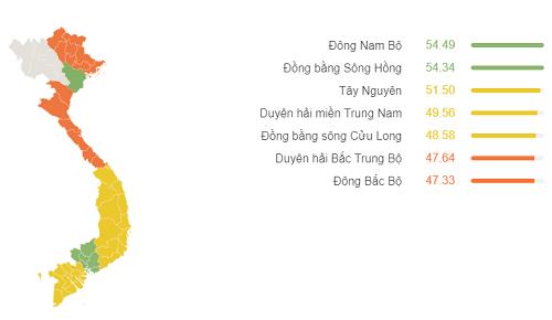 Chỉ số thành thạo Anh ngữ của Việt Nam theo khu vực.