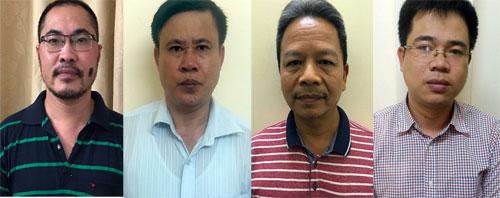 Bị can Tuấn, Thuỷ, Thái và Tâm (từ trái qua) tại cơ quan công an. Ảnh. Bộ Công an
