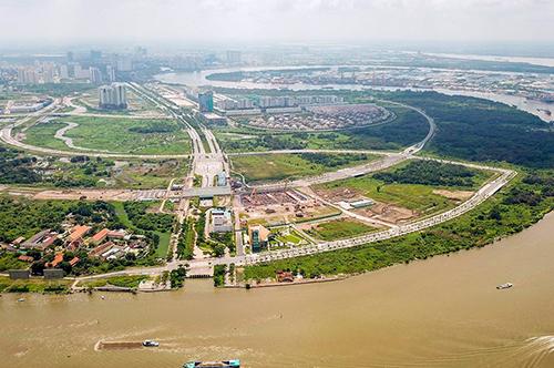 4 tuyến đường trong Khu đô thị Thủ Thiêm còn dang dở. Ảnh: Quỳnh Trần.