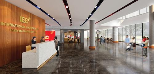 Phối cảnh sảnh chính và lễ tân tầng 1 tòa nhà điều hành trung tâm IEC Quảng Ngãi.
