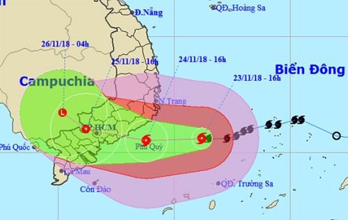 Dự báo đường đi và khu vực ảnh hưởng của bão lúc 16h ngày 23/11. Ảnh: NHCMF